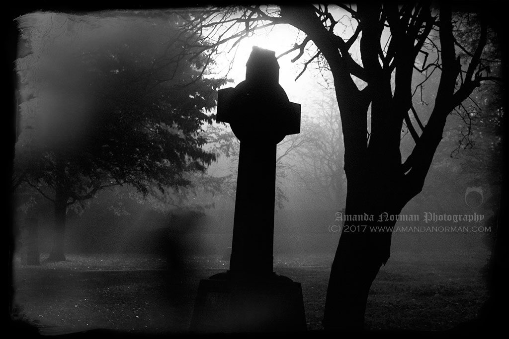 Amanda's Ghost in a foggy St James Cemetery, Liverpool