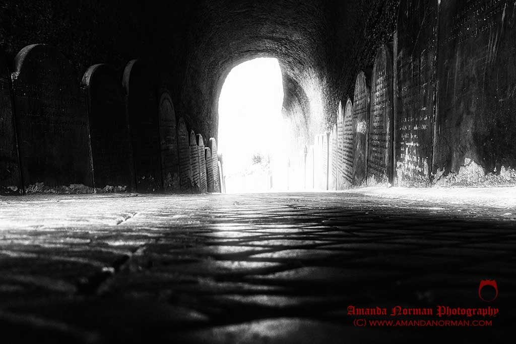 Photograph of the cemetery tunnel that leads into St James Cemetery in Liverpool