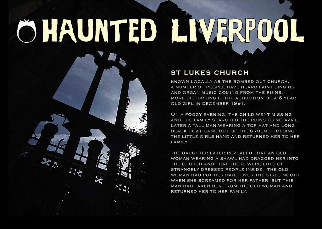 Haunted Liverpool A3 poster St Luke's Church